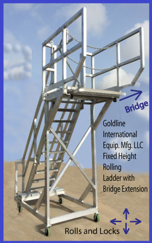 Goldline Rolling Ladder with Bridge Extension